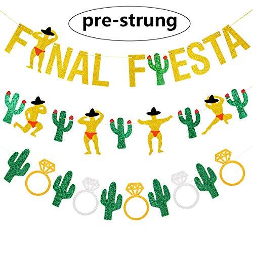 3PCS Gold Glittery Final Fiesta Banner, Glittery Cactus