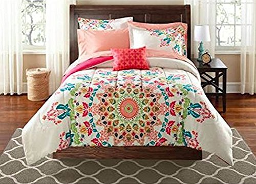 teen girls twintwin xl rainbow unique prism pink blue green colorful patten bedding set 6 piece bed in a bag