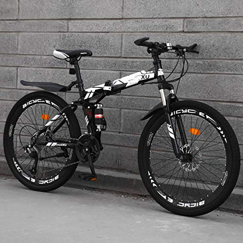 24inch Folding Bike,Dual Disc Brakes Variable Speed Mountain Bike,High Tensile Steel City Bike,Adjustable Seat…