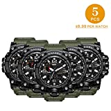 5 PCS SMAEL Men's Military Analog Digital Watch Outdoor Sports Waterproof Watches Double Electronic Quartz Movement Backlit Army Tactical Watch