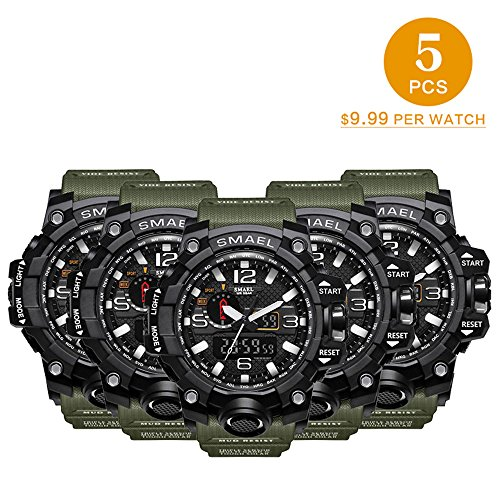 5 PCS SMAEL Men's Military Analog Digital Watch Outdoor Sports Waterproof Watches Double Electronic Quartz Movement Backlit Army Tactical Watch by SMAEL