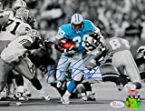 Barry Sanders Signed Detroit Lions 8x10 BW Color Running PF. Photo- JSA W Auth
