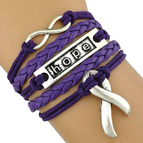 Infinity Collection Cancer Awareness Purple Ribbon Bracelet, Pancreatic Cancer Bracelet, Awareness Bracelet, Makes The ()