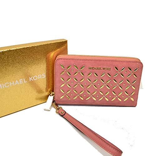 (Michael Kors Lg Flat MF Phone Case Wristlet Studded Suede)