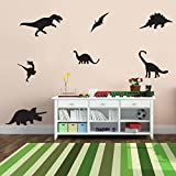 7 Pack Dinosaurs Vinyl Wall Art Stickers - 5'' x 12'' - Boy's Room Wall Decor- Cute Vinyl Sticker Decals - Nursery Room Dino Decorations