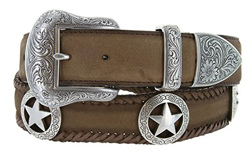 Hagora Men's Silvered 3 Piece Ornate Buckle Star Conchos 1.5