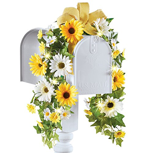 Summer Daisy & Sunflower Floral Mailbox Swag Decoration with Solar Lights