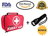 2-in-1 First Aid Kit (120 Piece) + Bonus 32-Piece Mini First Aid Kit+Portable Ultra Bright Handheld LED Flashlight with Adjustable Focus and 5 Light Modes. Compact for Emergency at Home,Car, Camping.