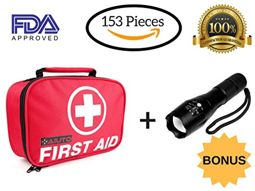 2-in-1 First Aid Kit (120 Piece) + Bonus 32-Piece Mini First Aid Kit+Portable Ultra Bright Handheld LED Flashlight with Adjustable Focus and 5 Light Modes. Compact for Emergency at Home,Car, Camping. by Aïutó