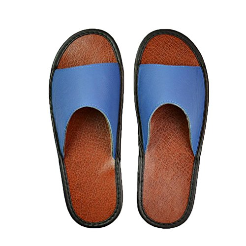 Blue Indoor Women's Men's Sandals Summer Soft Non Shoes Flat HUPLUE Leather Slippers slip Sole wYZOx