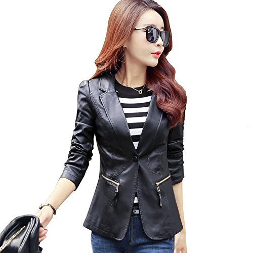 My Wonderful World Women's Juniors Leather Jackets Slim Suit Collar Blazer Single Button Black Jacket