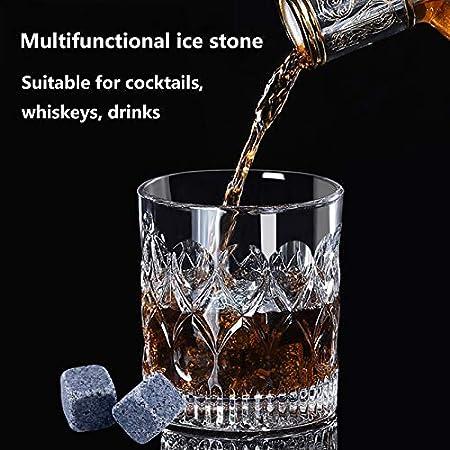 Piedras de Whisky de Granito Cóctel de Cubitos de Hielo Reutilizables Whisky Piedras de Cubitos de Hielo Whisky Stones Piedras de Enfriamiento para Vino Whisky Cerveza Vodka Ginebra Cóctel 12 Piezas