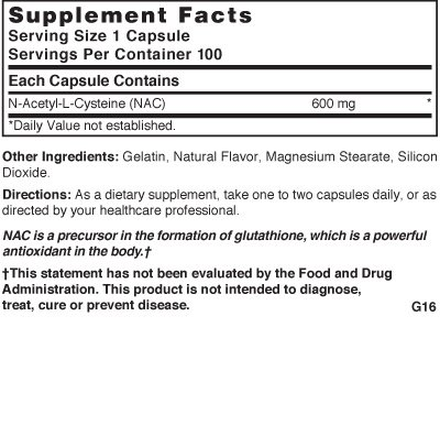 Nature's Blend NAC (N Acetyl L Cysteine) 600 mg 100 Capsules