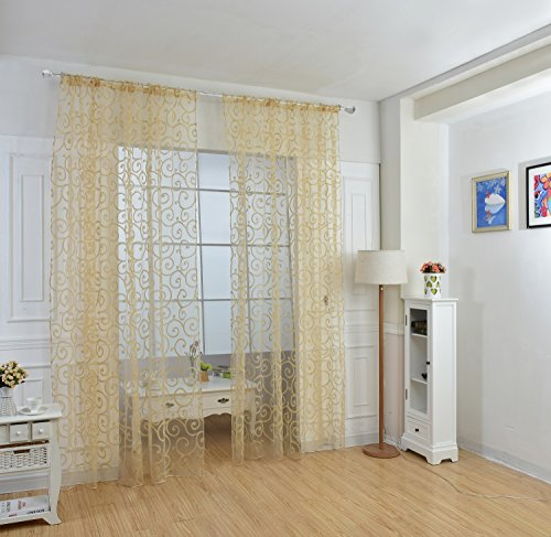 Zehui Hook Flocking Curtain Screens Rod Processing 1 Meters2.7M Meters Embroidered Sheer Curtain Pinch Yellow 1PCS (Fireplaces With Patios In Screened)