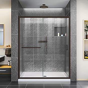 Basco Infinity Frameless Sliding Shower Door, Fits 56-58.5 inch ...