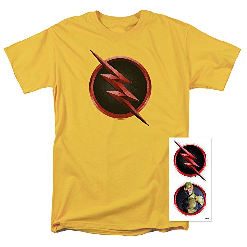 Popfunk The Flash TV Series Reverse Flash Logo T Shirt & Exclusive Stickers (Large) (T-shirt Flash Reverse)