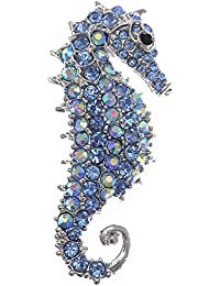 Aurora Borealis Crystal Rhinestone Seahorse Fish Convertible to Pendant Animal Brooch Pin