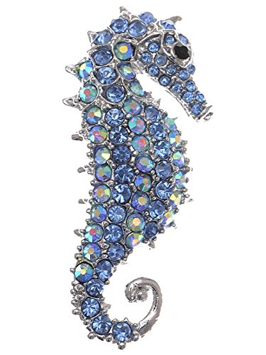 Alilang Aurora Borealis Crystal Rhinestone Seahorse Fish Convertible to Pendant Animal Brooch Pin, Blue