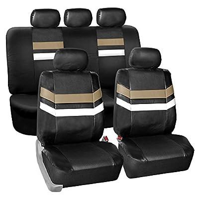 FH GROUP PU006115 Varsity Spirit PU Leather Seat Covers, Airbag & Split Ready