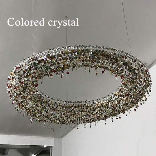 H.Y.FFYH Colgante de luz Iluminación Colorido de la Piedra Preciosa de la lámpara for la Sala candelabros de Hotel Tienda de café de Cristal (Emitting Color : Cold, Size : Colored Crystal)