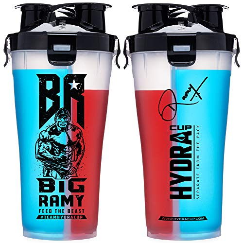 Hydra Cup - 36oz High Performance Dual Shaker Bottle, 2 in 1, 14oz + 22oz, Leak Proof, Awesome Colors, Patented PRE + Protein Shaker Cup, Save Time & Be Prepared, Get It Done Black (Big Ramy OG) ()