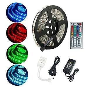 luxonic LED tira luz SMD5050impermeable flexible de 5metros cambio de color RGB 300ledes con 44Key mando a distancia y 12V 6a Cable de