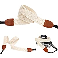 Ivory Lace Camera Neck Strap for Film SLR Dslr Rf Digital Canon Best Mod Pretty Vintage Straps (Sun Flower)