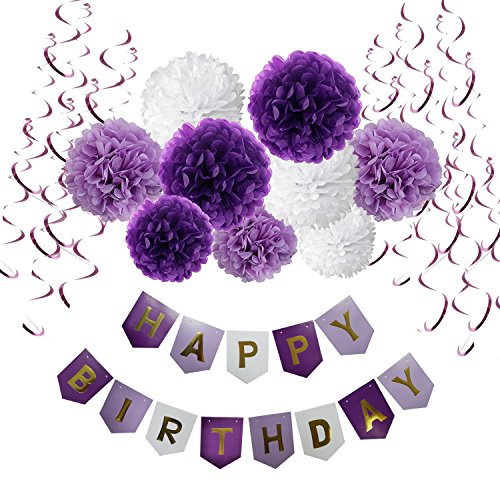 Birthday Decorations, Cocodeko Happy Birthday Banner Bunting with Tissue Paper Pom Poms and Hanging Swirl Decor for Birthday Party Decorations - Purple, Lavender and White