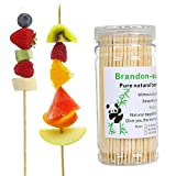 Brandonsuper Bamboo Skewers 200 Pcs Natural BBQ for Shish Kabob, Grill, Appetizer, Fruit, Corn, Chocolate Fountain 4'/6'/8'/10'/12'