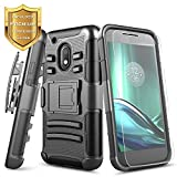 moto g side case - Moto G4 Play Case with [Tempered Glass Screen Protector], NageBee [Heavy Duty] Armor Shock Proof Dual Layer [Swivel Belt Clip] Holster [Kickstand] Combo Rugged Case for Moto G Play 4th Gen - Black