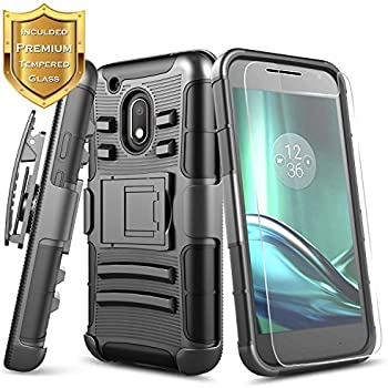NageBee Moto G4 Play Case with [Tempered Glass Screen Protector], [Heavy Duty] Armor Shock Proof Dual Layer [Swivel Belt Clip] Holster [Kickstand] Combo ...