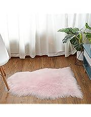 HEQUN Antislip-lamsvacht-tapijt, kunstbont, schapenvacht, imitatie, woonkamer, tapijt, pluizig, gezellig, schapenvacht, bedmat, bankmat