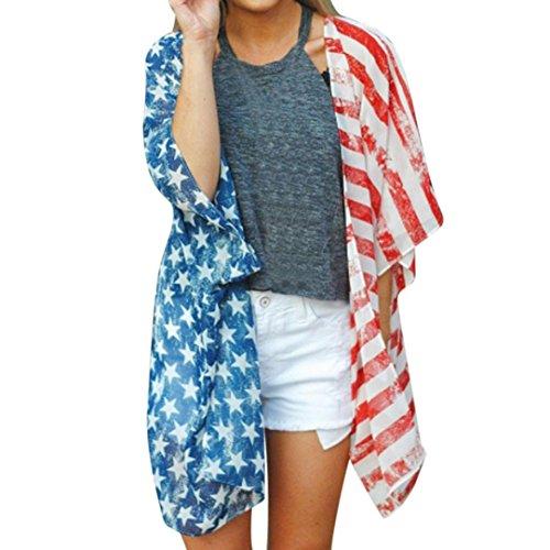 Tenworld Women American Flag Print Beach Cover up Loose Kimono Cardigan (S, Multicolor)