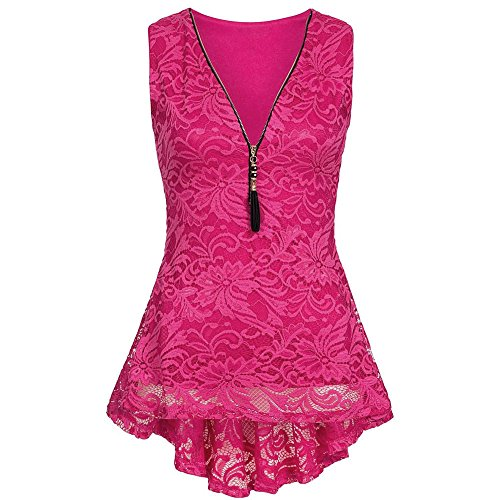 Sunhusing Women's Tassel Zipper Closure Lace Stitching Sleeveless Vest Tank Top Pleated Hem T-Shirt Hot Pink