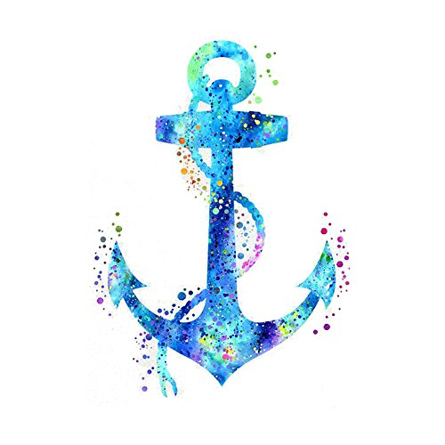 WYUEN 5 Sheets Waterproof Anchor Temporary Tattoo For Women Fake Tattoo Sticker Arm Body Art 9.8X6cm (Anchor Tattoos Women)
