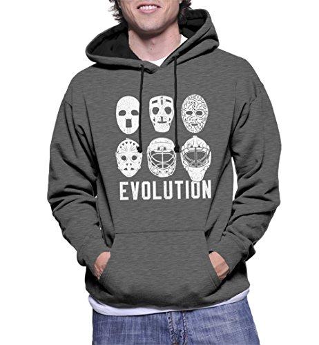 Men's Evolution of Goalie Masks Two Tone Hoodie Sweatshirt (Charcoal/Black Strings, X-Large)