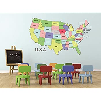 Decal Wall Sticker : United States Of America Us Map World Country State  Classroom School Size Part 91