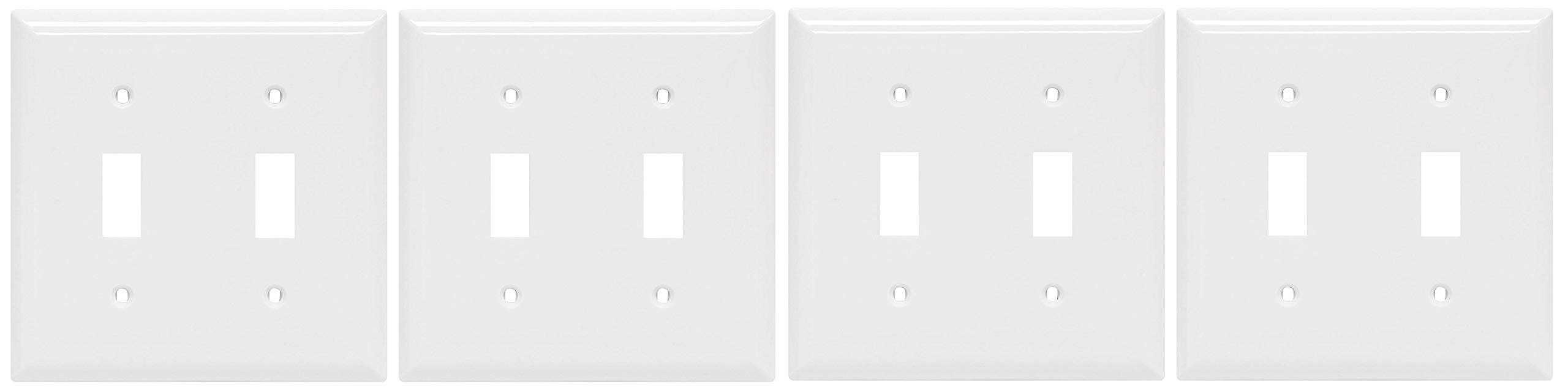 Power Gear Double Toggle Switch Wallplate, White, Unbreakable Nylon, Screws Included, UL Listed, 40025 (Fоur Paсk)