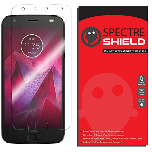 Price comparison product image Moto Z2 Force Screen Protector by Spectre Shield Full Coverage Invisible HD Clear Anti-Bubble Anti-Scratch Film