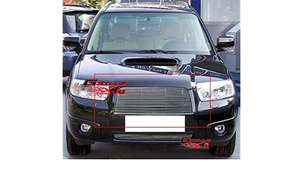 Grille Assembly Compatible with 2006-2008 Subaru Forester Black Shell//Chrome Insert