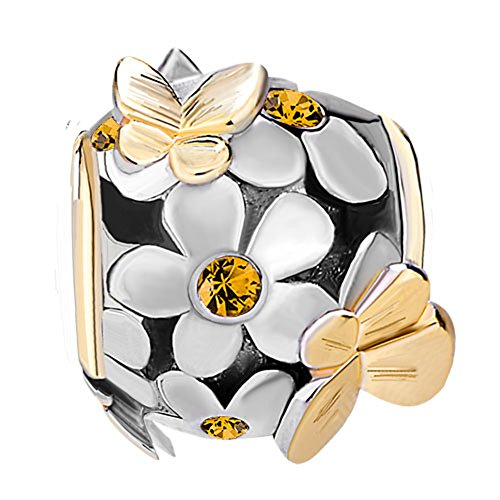 ShinyJewelry Synthetic November Birthstone Butterfly Flower Beads Charm for European Bracelet