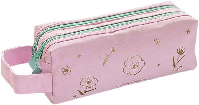 Qinlee - Estuche para lápices de gran capacidad con flores, estuche para lápices Leinwan, estuche para colegio, adolescentes, para mujer y niña, color rosa, Rosa: Amazon.es: Bricolaje y herramientas
