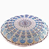 Mandala Life ART Peacock Pouf (Cushion Stuffed 24'', Blue Embroidery)