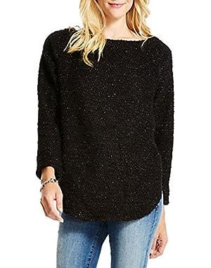 Jessica Simpson Marled Hi-Lo Sweater-BLACK-Small