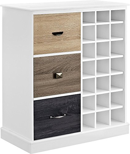 Altra Furniture Ameriwood Home Mercer Wine Cabinet with Multicolored Door Fronts, White by Altra Furniture
