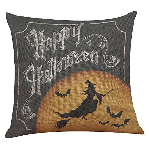 WONOUS Kuso Happy Halloween Party Carnival Treat or Trick Candy Pumpkin Witches Ghost Spooky Cat Bat Flax Sofa Square Pillow Case Cafe Home Living Room Decor Car Cushion Covers Scatter Cushion (E)]()