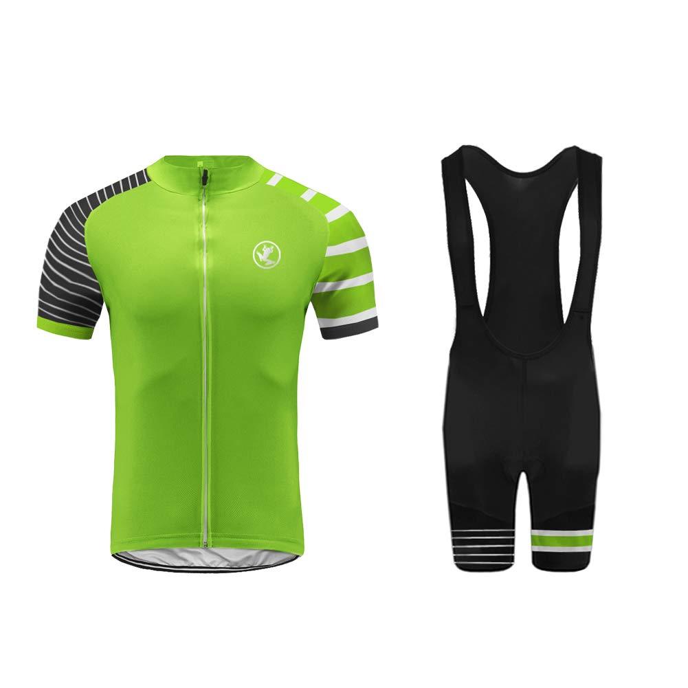 Uglyfrog Herren MTB Radtrikot Atmungsaktive Fahrradbekleidung Set Trikot Kurzarm + Radhose mit Sitzpolster für Radsport-Zwei Stücke DEQTao06