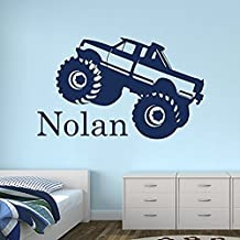 Wall Decal Letters Custom Monster Truck Name Wall Decal For Boys - Trucks Wall Decals - Nursery Wall Decals - Trucks Decal - Baby Nursery Decor (30Wh)for Living Room