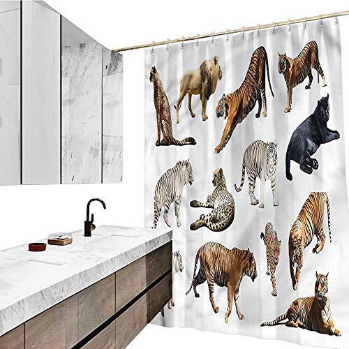 (Jiahong Pan Safari,Printed Shower Curtain Big Wild Cats Zoo Animals Hotel Quality, Machine Washable,Multicolor,W72 xL72)