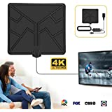 HDTV Digital TV Antenna Indoor -Amplified HD Antenna Long 50-80 Miles Range with Switch Amplifier Signal Booster for 1080P Free TV Channels -16.5ft Coax Cable/USB Power Adapter